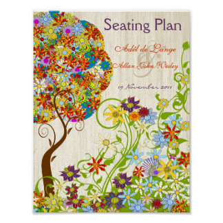 Circle Flower Tree Wood Grain background Poster