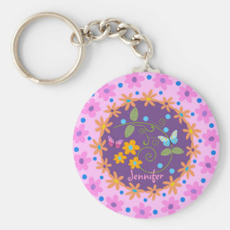 Circle flowers, Butterflies & custom Name keychain