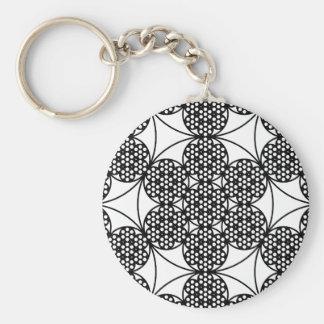 Circle Fractal Basic Round Button Keychain