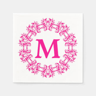 Circle Framed Monogram Paper Napkins Paper Napkin