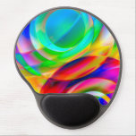 "Circle Frenzy Gel Mouse Pad<br><div class=""desc"">Bright digital art with layers of widening circles in rainbow colors.  This large image file can be moved,  rotated,  and re-sized for countless looks.</div>"