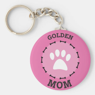 Circle Golden Retriever Mom Badge Keychain