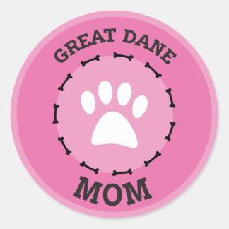 Circle Great Dane Mom Badge Classic Round Sticker