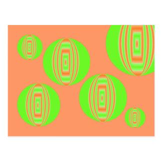 circle green and orange postcard
