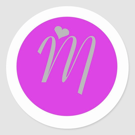 circle heart alphabet classic round sticker