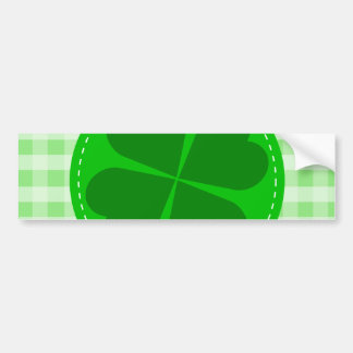 Circle hearted Shamrock w green ribbed background Bumper Sticker