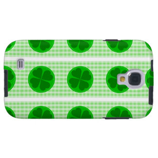 Circle hearted Shamrock w green ribbed background Galaxy S4 Case