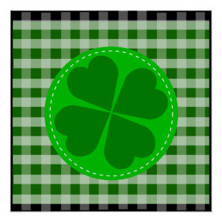 Circle hearted Shamrock w green ribbed background Poster