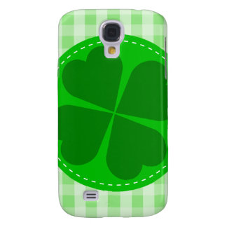 Circle hearted Shamrock w green ribbed background Samsung Galaxy S4 Cover