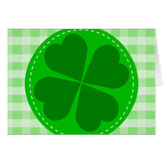 Circle hearted Shamrock w green ribbed background Stationery Note Card