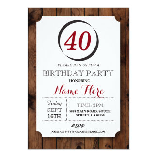 Circle Inverse 40 Wood Surprise Birthday Invite