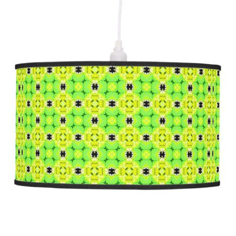 Circle Lattice of Floral Lime Green Modern Quilt Ceiling Lamp