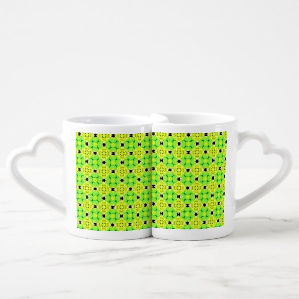 Circle Lattice of Floral Lime Green Modern Quilt Coffee Mug Set