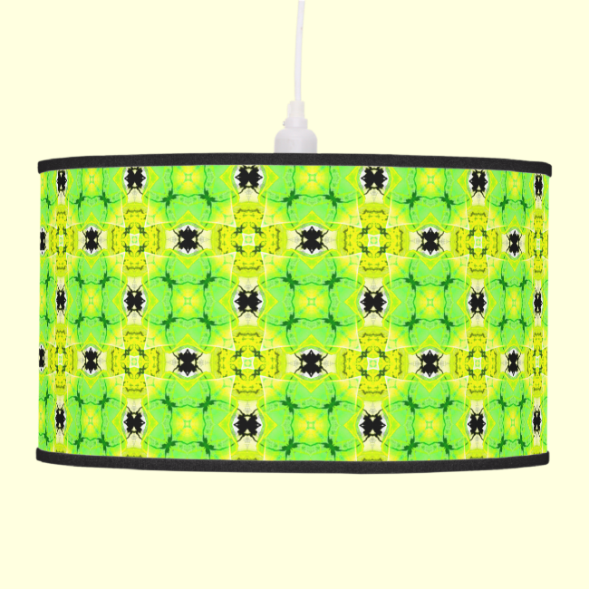 Circle Lattice of Floral Lime Green Modern Quilt Hanging Pendant Lamp