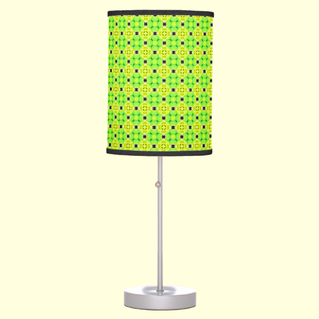 Circle Lattice of Floral Lime Green Modern Quilt Desk Lamp
