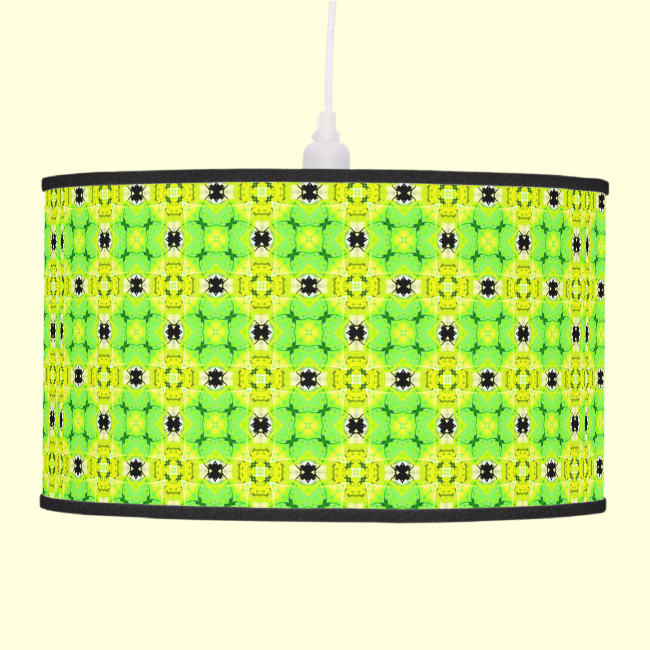 Circle Lattice of Floral Lime Green Modern Quilt Hanging Lamps