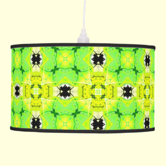 Circle Lattice of Floral Lime Green Modern Quilt Hanging Pendant Lamps