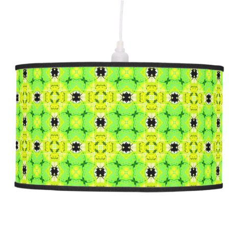 Circle Lattice of Floral Lime Green Modern Quilt Pendant Lamp