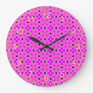 Circle Lattice of Floral Pink Violet Modern Quilt Wall Clocks