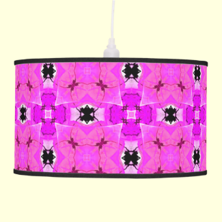 Circle Lattice of Floral Pink Violet Modern Quilt Hanging Lamps