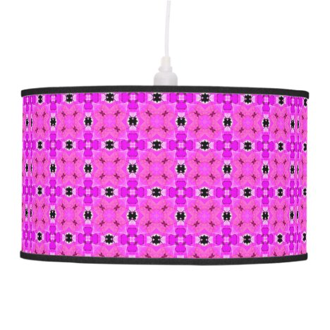 Circle Lattice of Floral Pink Violet Modern Quilt Pendant Lamp