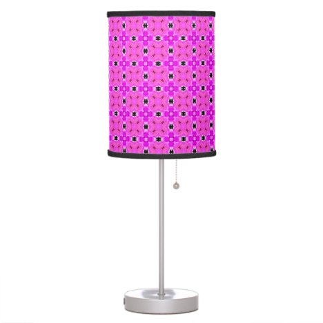 Circle Lattice of Floral Pink Violet Modern Quilt Table Lamp