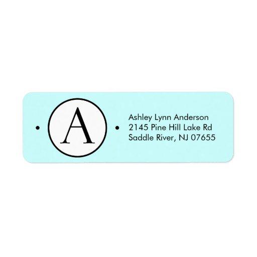 Circle Letter A Monogram Return Address Labels Label