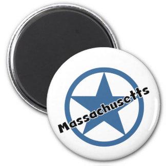 Circle Massachusetts 2 Inch Round Magnet