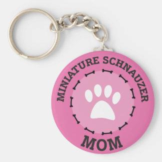Circle Miniature Schnauzer Mom Badge Keychain