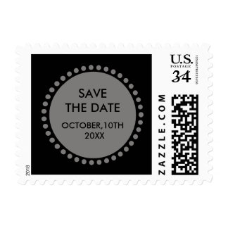 Circle Monogram Decorative Black Save The Date Postage