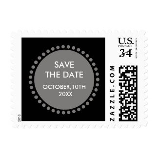 Circle Monogram Decorative Black Save The Date Stamp