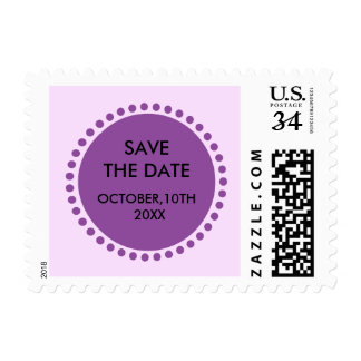 Circle Monogram Decorative Wedding Save The Date Postage