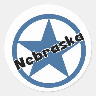 Circle Nebraska Classic Round Sticker