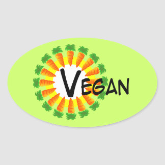 Circle of Carrots Sun Vegan Oval Sticker