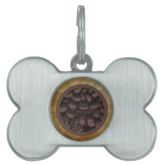 Circle Of Coffee Beans Pet Tag
