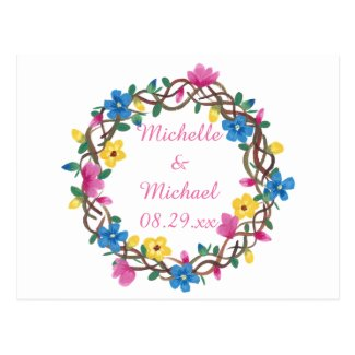 Circle of Colorful Flowers Save the Date Postcards
