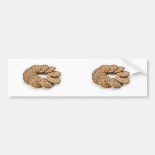 Circle of cookies on a white background bumper sticker