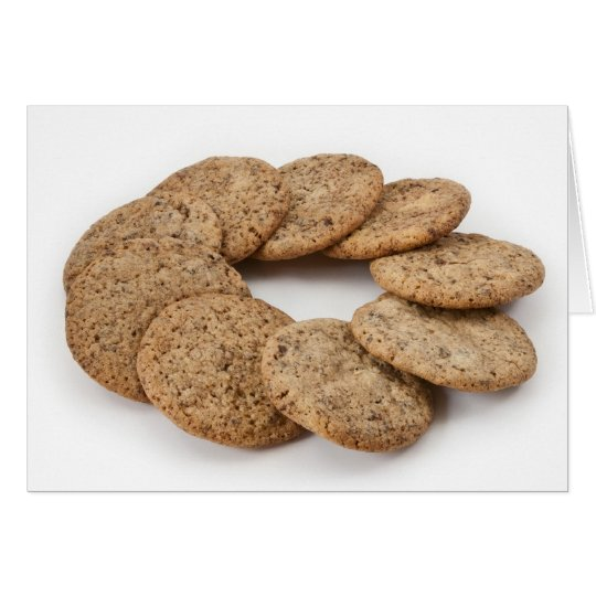Circle of cookies on a white background card