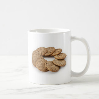 Circle of cookies on a white background coffee mug