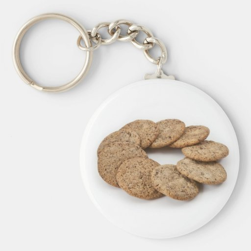 Circle of cookies on a white background key chain