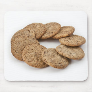 Circle of cookies on a white background mouse pad