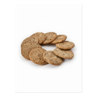 Circle of cookies on a white background postcard