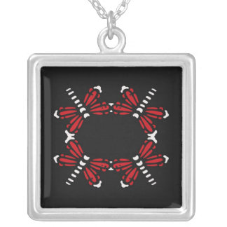 Circle of dragonflies in red and black necklace