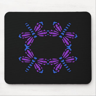 Circle of Dragonflies, purple & blue on black Mouse Pad