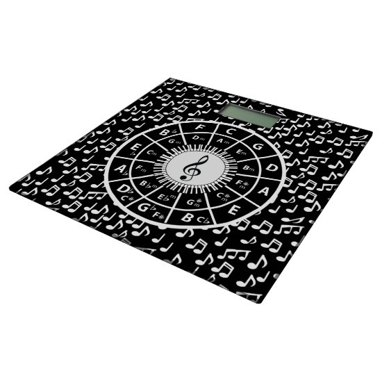Circle of fifths and music notes bathroom scale