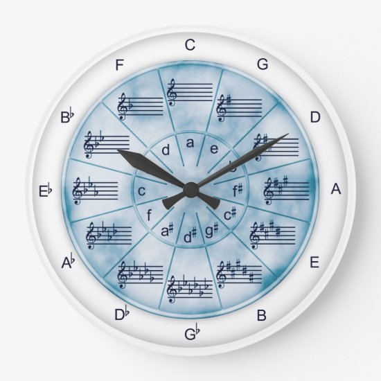 Circle of Fifths Blue Marble for Musicians Large Clock