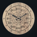 "Circle of fifths brown color musicians large clock<br><div class=""desc"">Stylish and useful brown color color circle of fifths clock design with major keys and their relative minors plus the major triads. A great gift idea for music teachers and students or the music lover in your life.</div>"