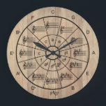 """Circle of fifths brown color musicians large clock<br><div class=""""desc"""">Stylish and useful brown color color circle of fifths clock design with major keys and their relative minors plus the major triads. A great gift idea for music teachers and students or the music lover in your life.</div>"""