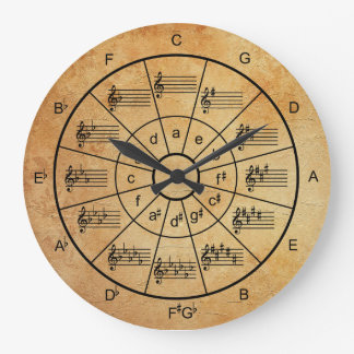 Circle of fifths brown color musicians large clock