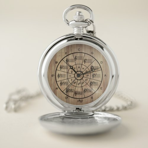 Circle of fifths brown color musicians pocket watch